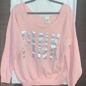 Off the shoulder Pink Sweatshirt